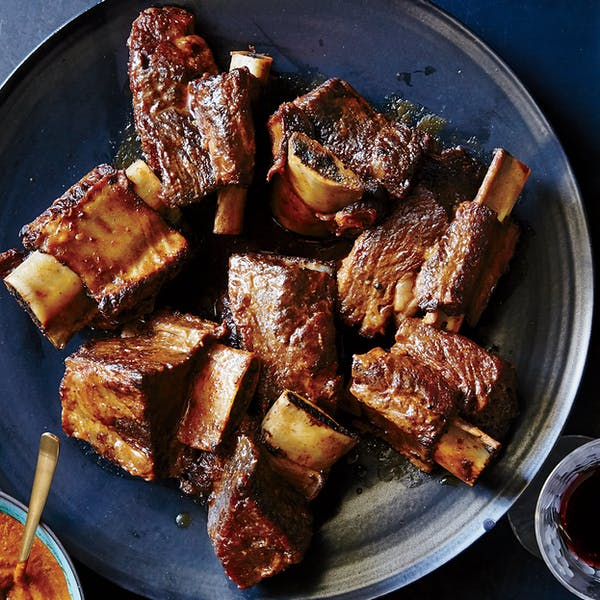 Oven-Braised Short Ribs with Pasilla-Tomato Mole