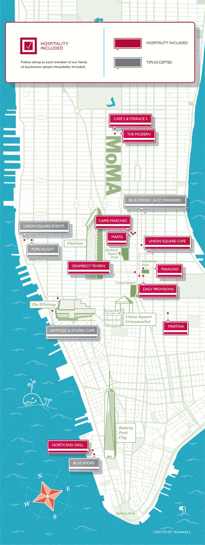 Map of the restaurants that have adopted Hospitality Included: currently The Modern, Maialino, North End Grill, Marta, Gramercy Tavern, Union Square Cafe, and Daily Provisions.
