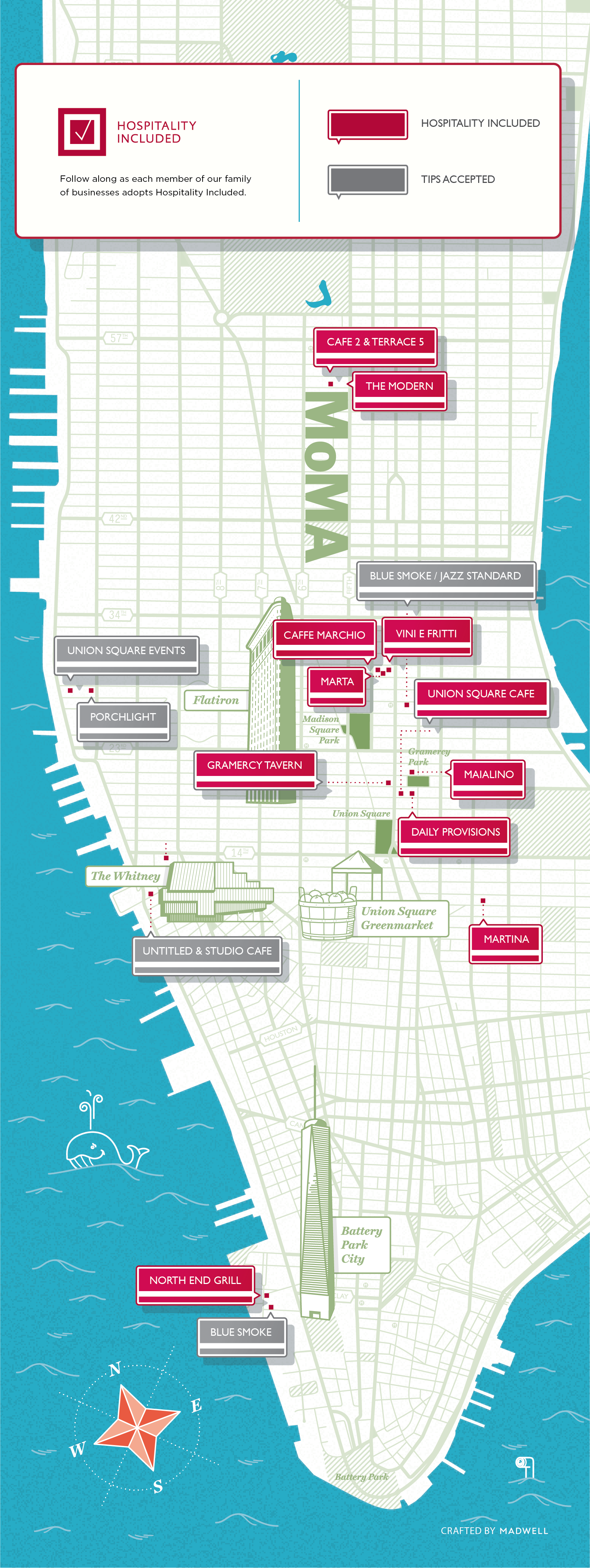 Map of the restaurants that have adopted Hospitality Included: currently Cafe 2 at MoMA, Caffe Marchio, Daily Provisions, Gramercy Tavern, Maialino, Marta, Martina, North End Grill, The Modern, Union Square Cafe, and Vini e Fritti.