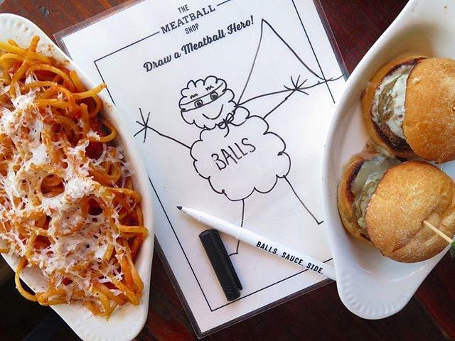 pasta and mini burgers