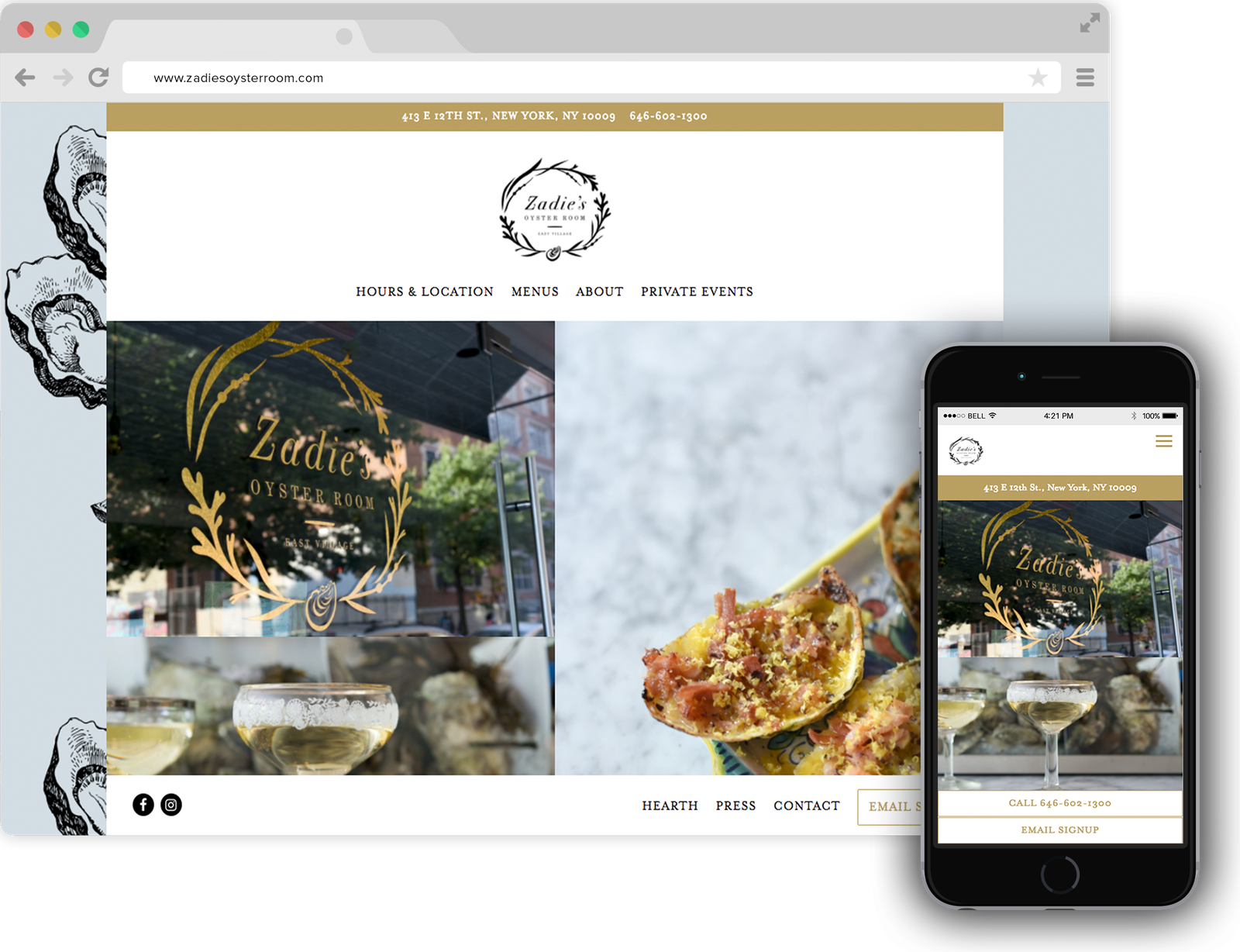 Zadie's Oyster Room Restaurant Website