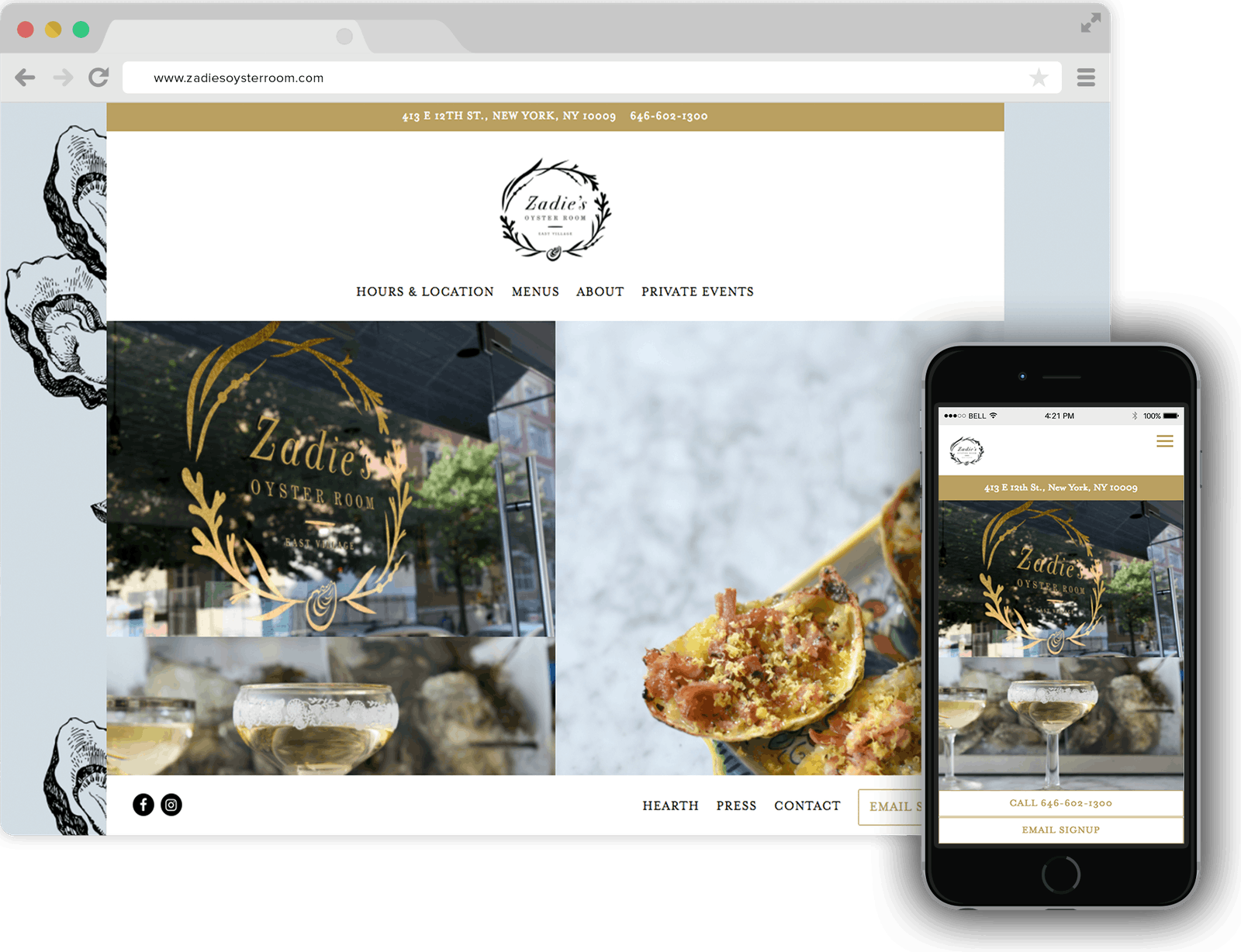 Zadie's Oyster Room Restaurant Website