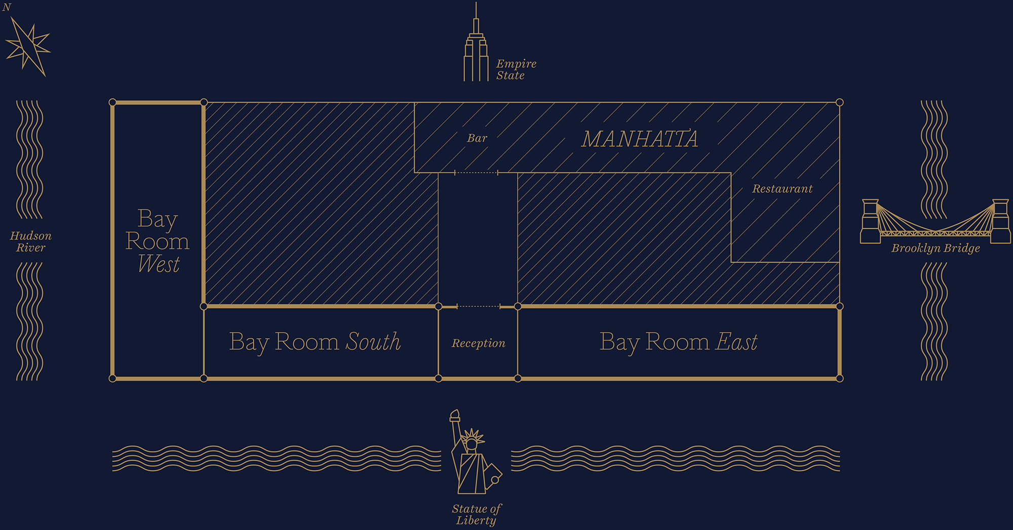 Bay Room Floorplan New York Event Space
