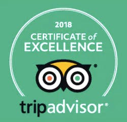 a 2018 certificate of excellence from TripAdvisor