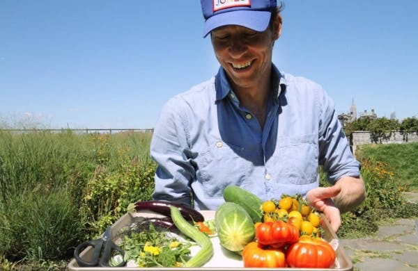 Chef Ryan Hardy in farm with vegetables