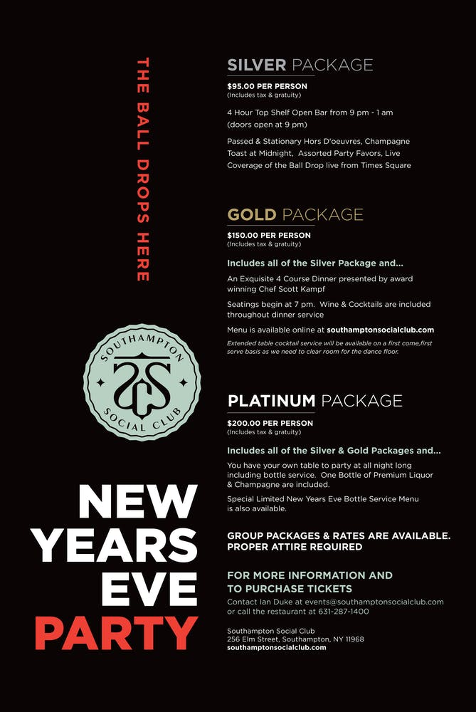 Celebrate New Year's Eve At The Southampton Social Club