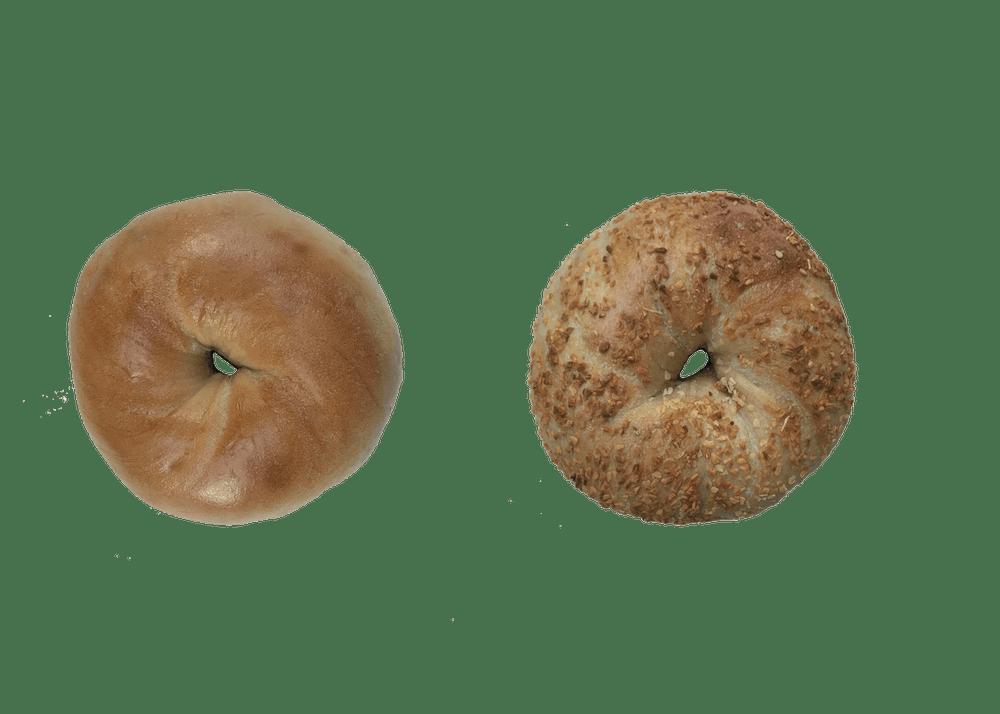 plain and garlic bagel