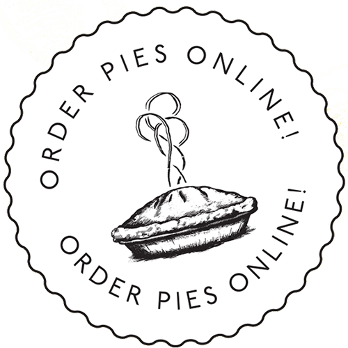 a logo with a drawing of a pie, that says order pies online