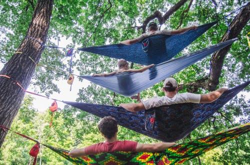 People lying in hammocks