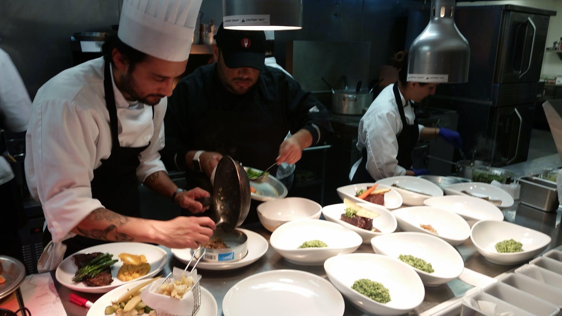 chef preps food