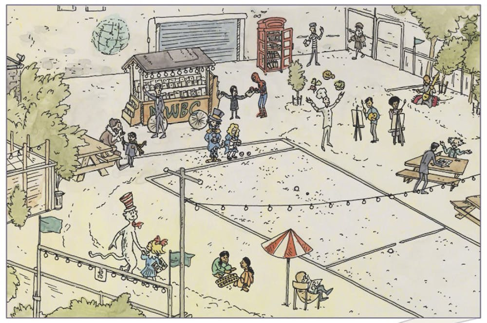 Illustration of a neighborhood lot and pétanque court