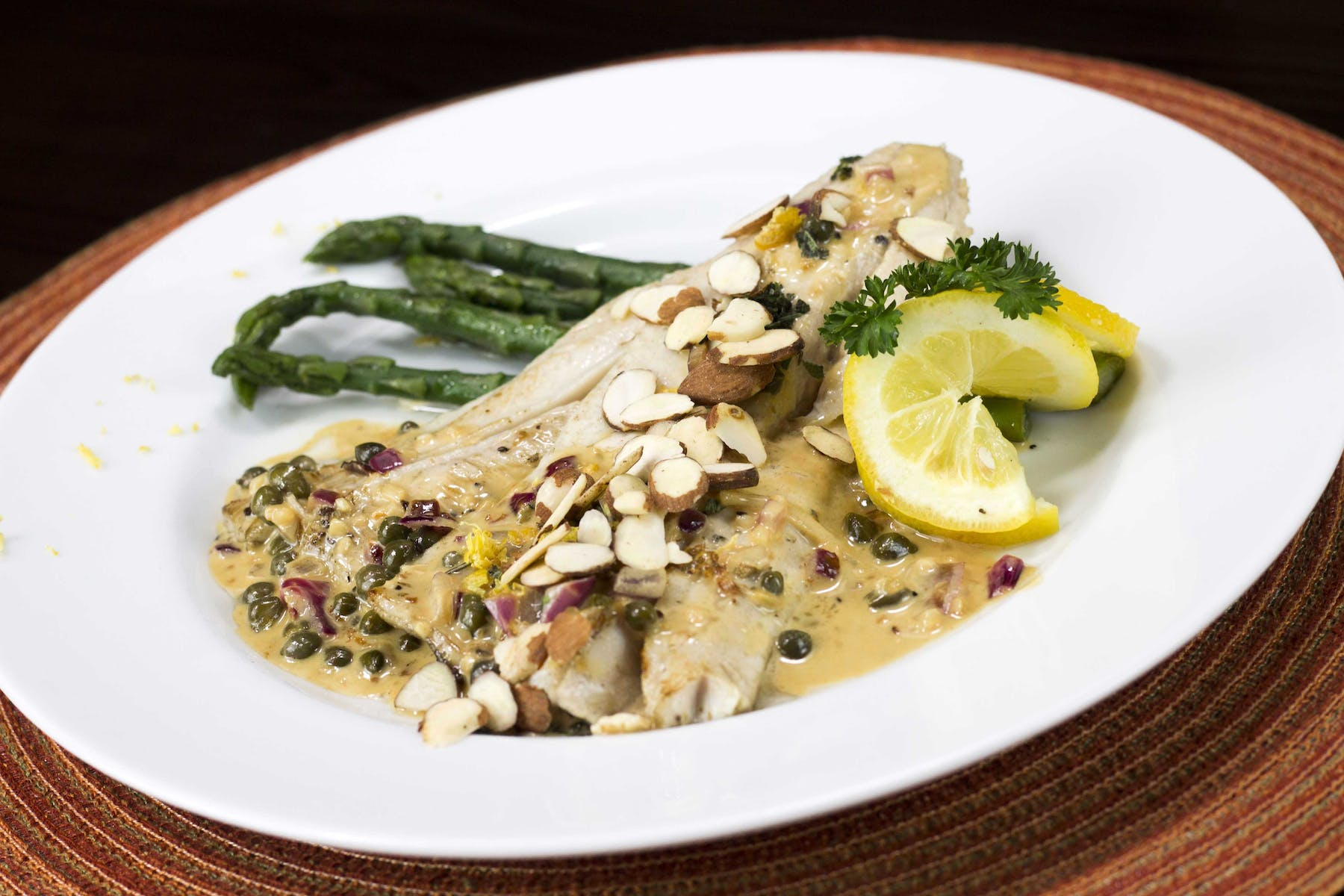 chicken with asparagus plate