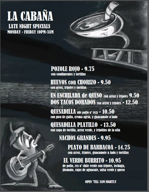 La Cabana Late night Specials