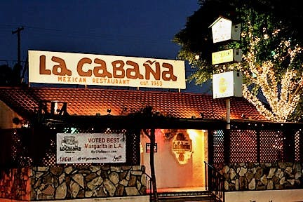 La Cabana facade at night