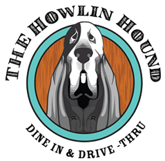 the howlin hound dine in and drive-thru logo
