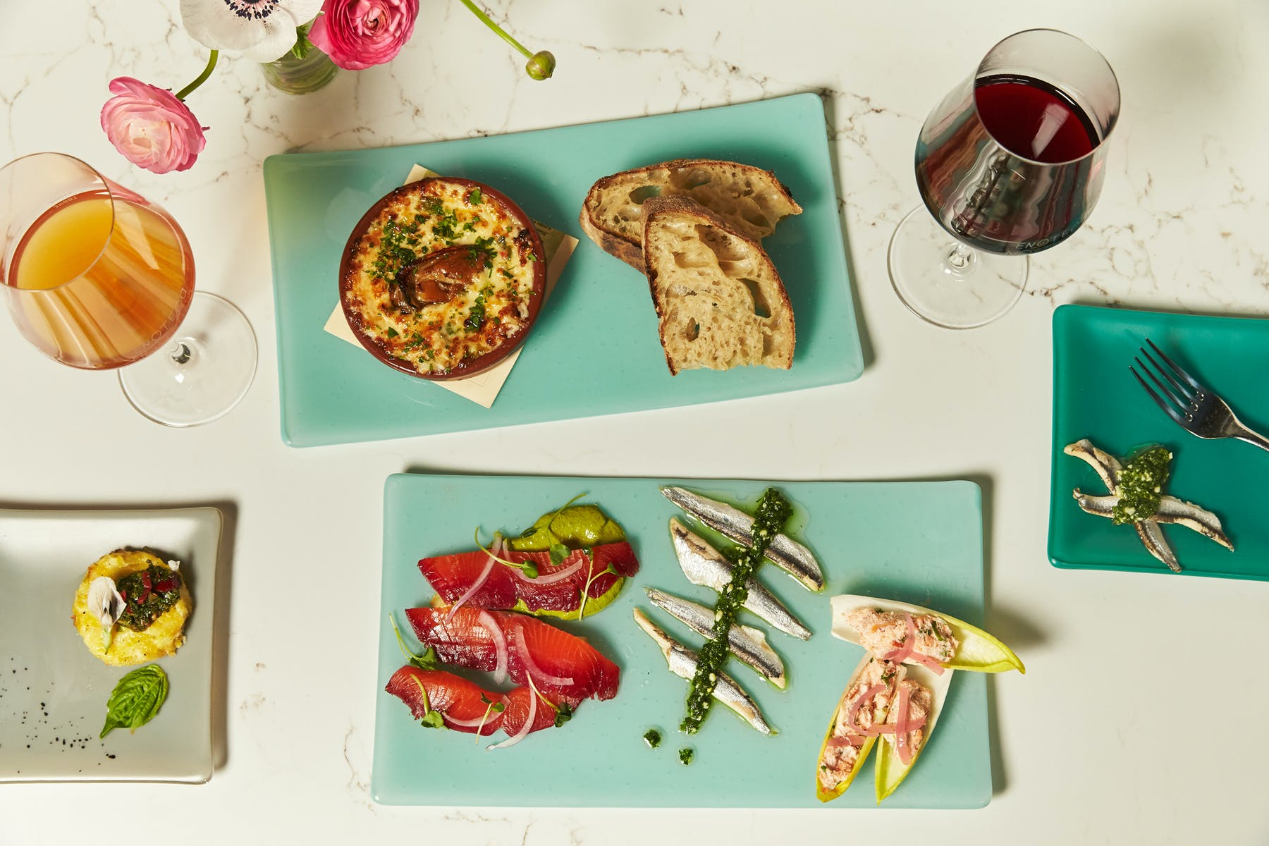 appetizers with wine