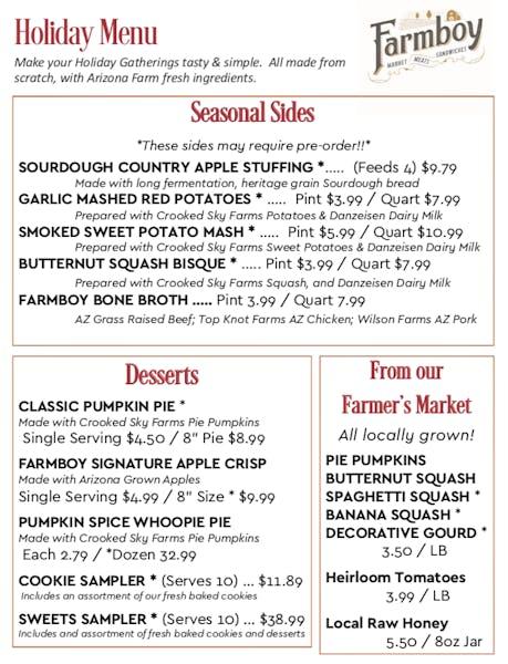 Farmboy Holiday Menu Is Now Available Farmboy Restaurant