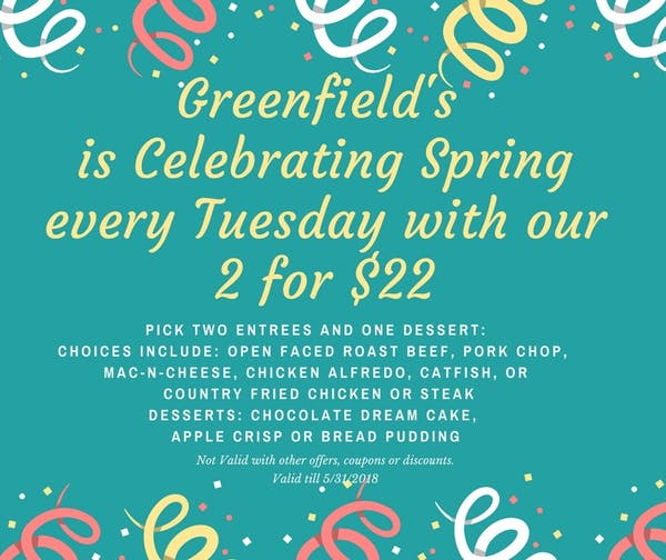 Celebrate Spring with our 2 for $22 every Tuesday!