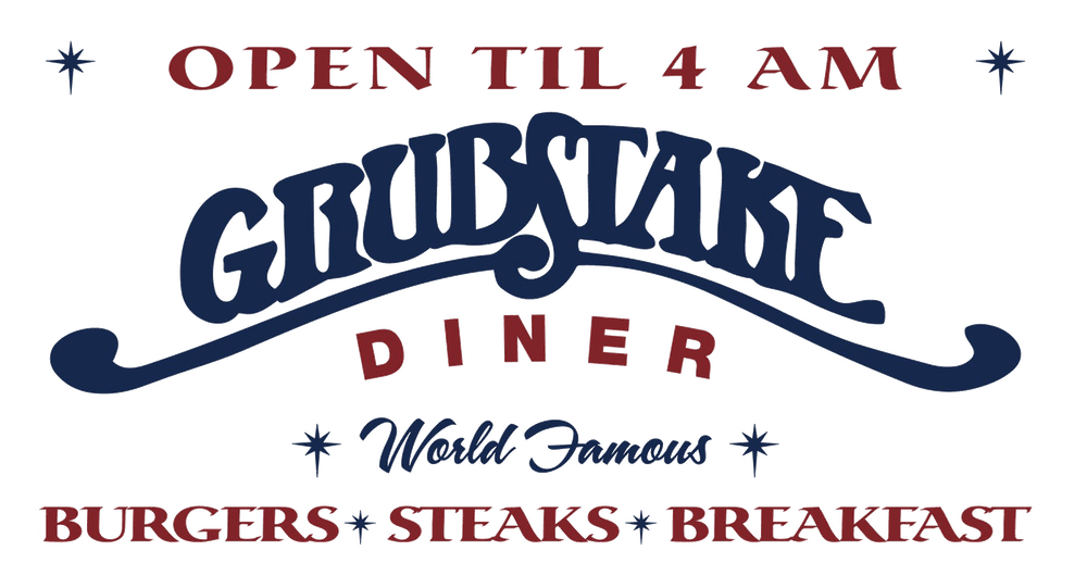 Logo - Open until 4am - Specialty of burgers, steaks, and breakfast