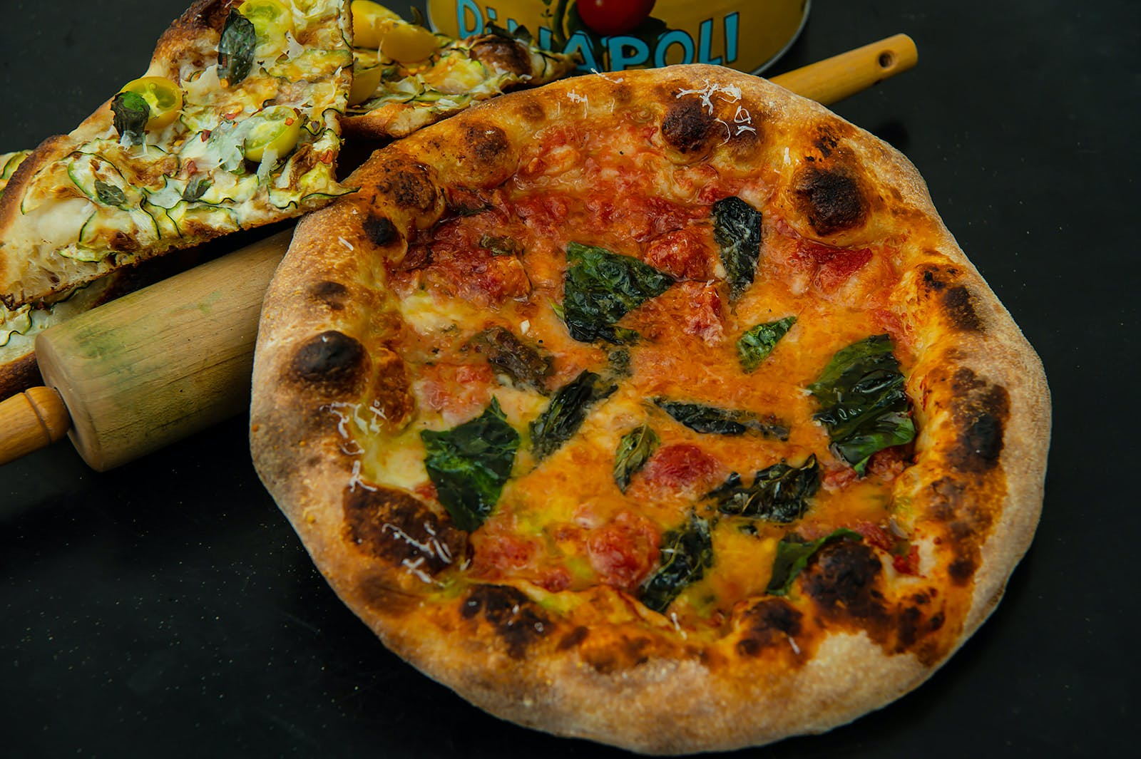 Cheese pizza with spinach