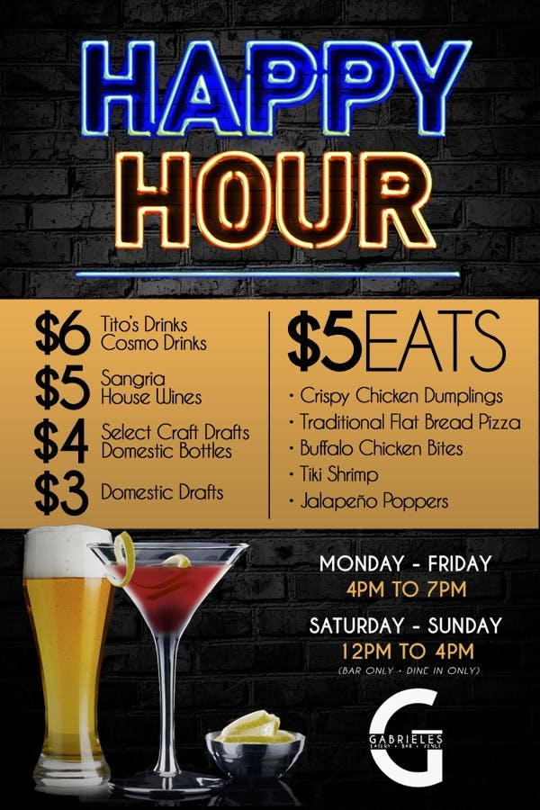 PDF of their Happy Hour Menu, see below button for text based menu