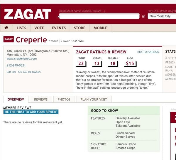 Creperie NYC - Zagat Review