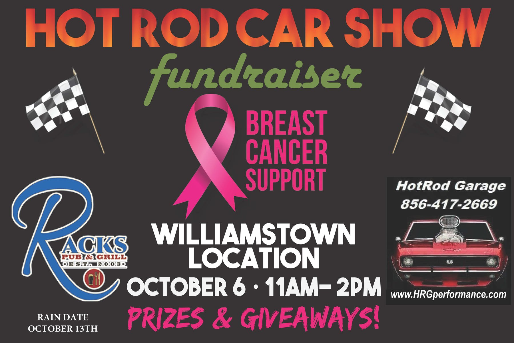 Car Shows Racks Pub Grill - Car show giveaways
