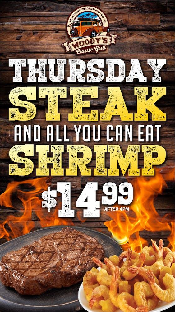 Thursday Steak & All You Can Eat Shrimp banner