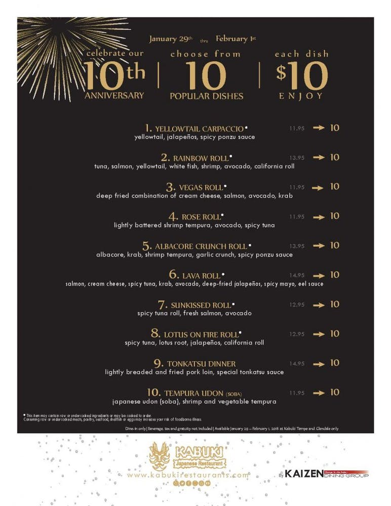$10 Menu To Celebrate Our 10th Anniversary In Arizona