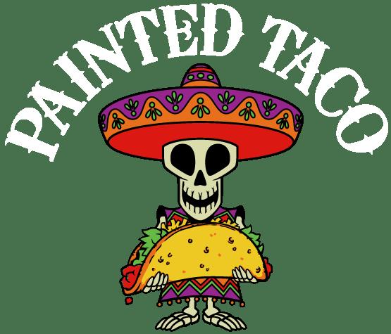 a close up of a skeleton with a taco logo