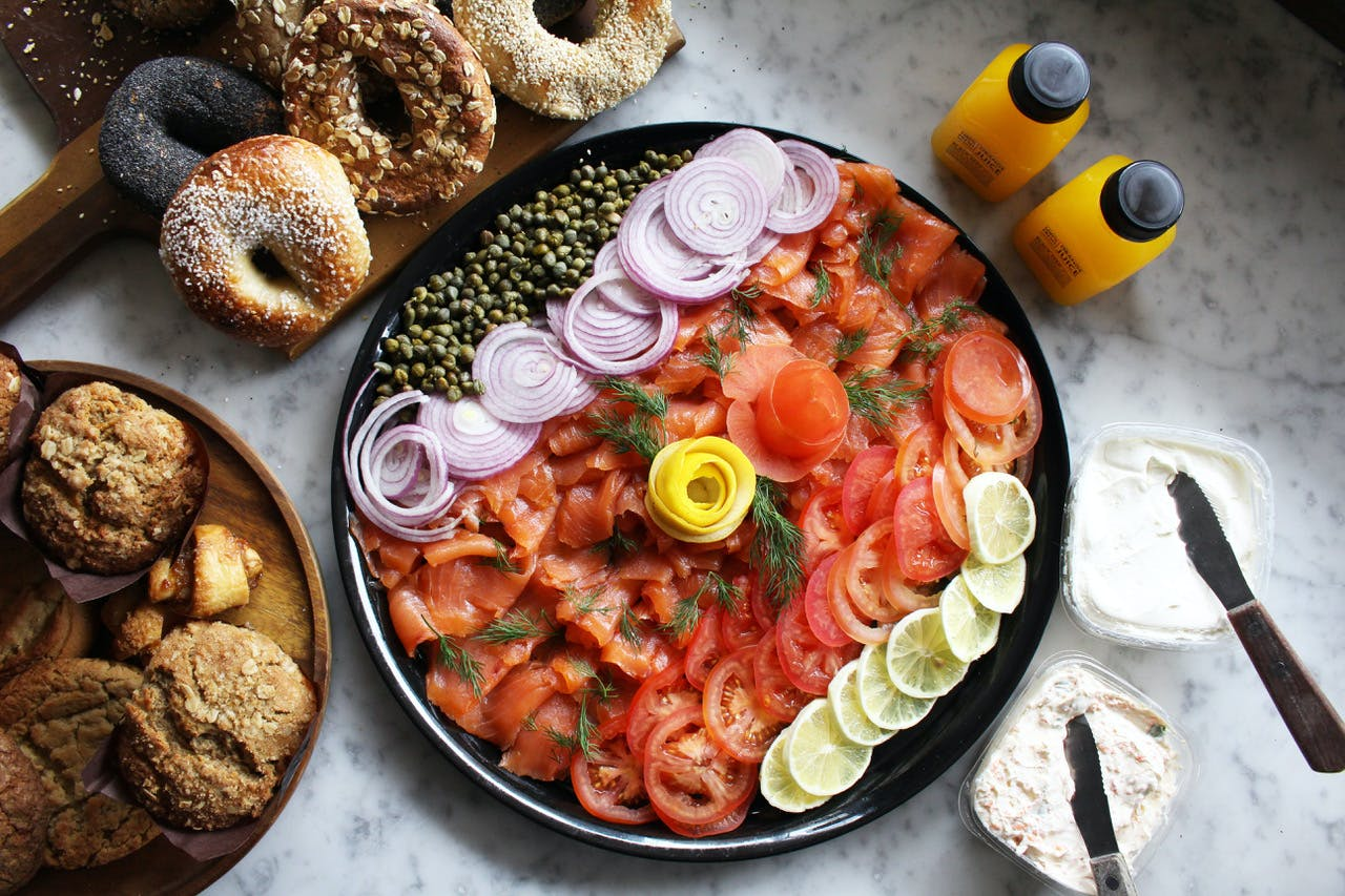 Classic Lox catering platter with fresh squeezed orange juice