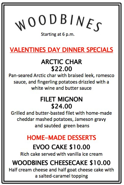 celebrate valentines day at woodbines