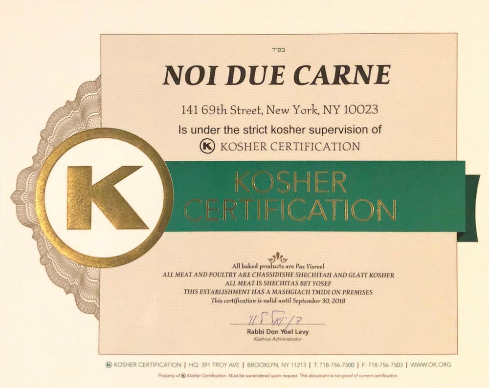 Kosher Certification Noi Due Carne