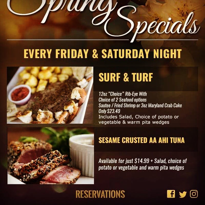 New Surf & Turf Special Every Friday and Saturday Nights!