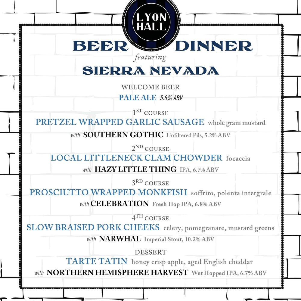 Sierra Nevada Beer Dinner Menu
