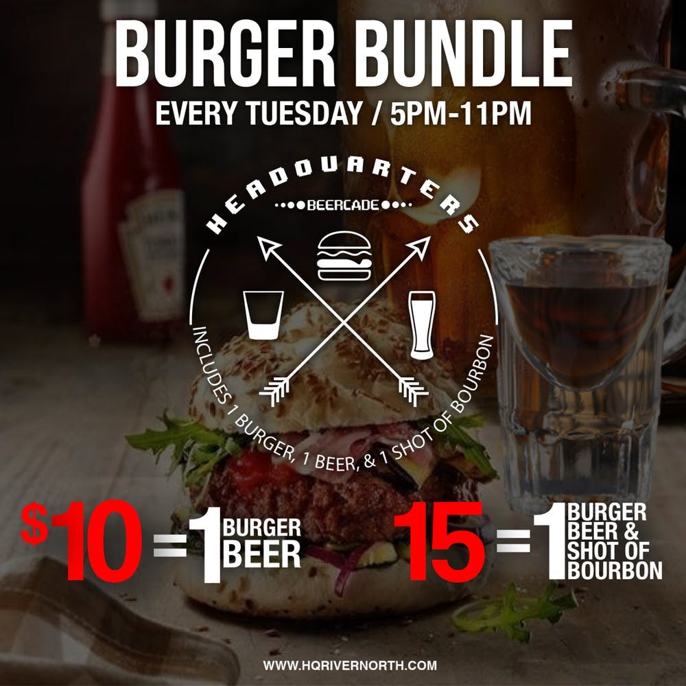 poster with a burger and beer