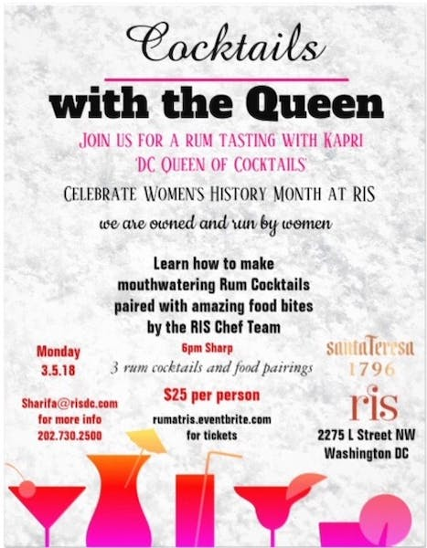 Rum tasting and Cocktail Class at RIS to Celebrate Women's History Month