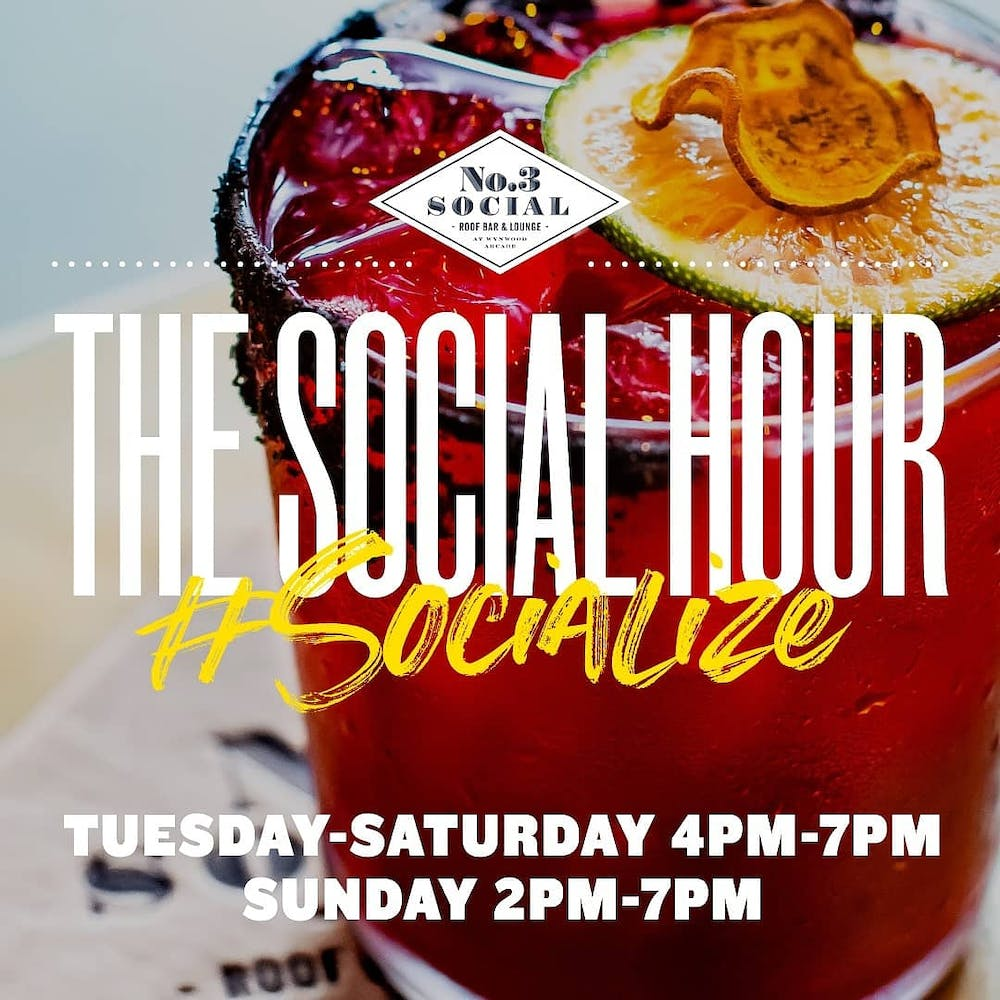 A close up of a flyer for Social Hour at No. 3 Social