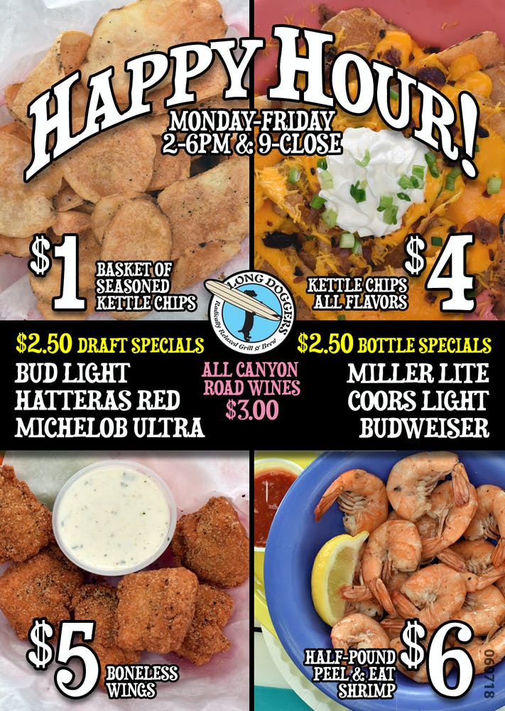Happy Hour Food Specials Long Doggers