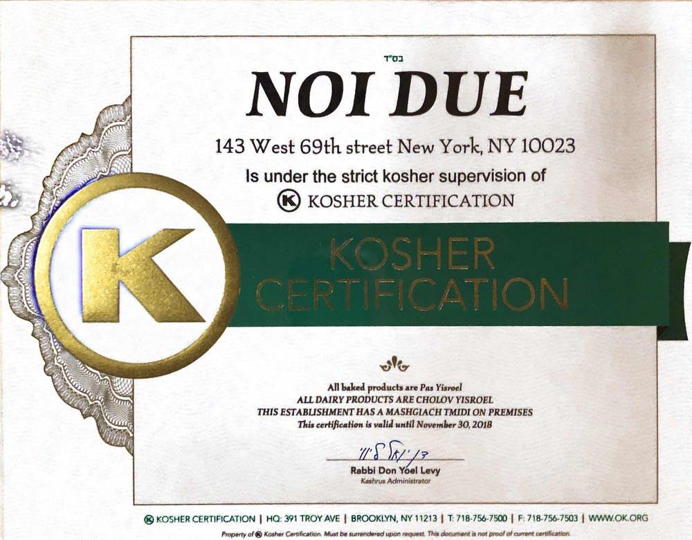 Kosher Certification Noi Due
