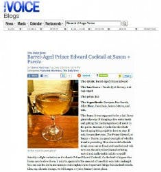Barrel-Aged Prince Edward Cocktail at Saxon + Parole | The Village Voice