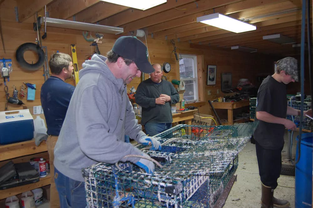 Fishermen from the Tenants Harbor Fisherman's Co-op making repairs during the coldest months of winter.