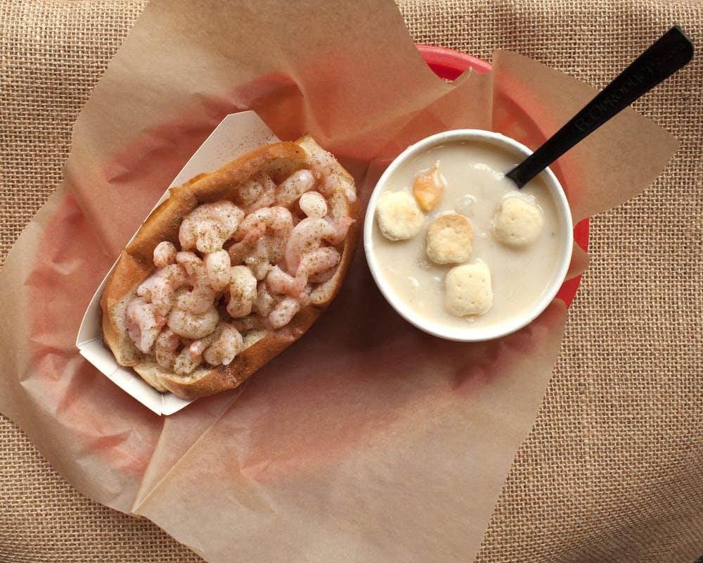 Shrimp roll and clam chowder