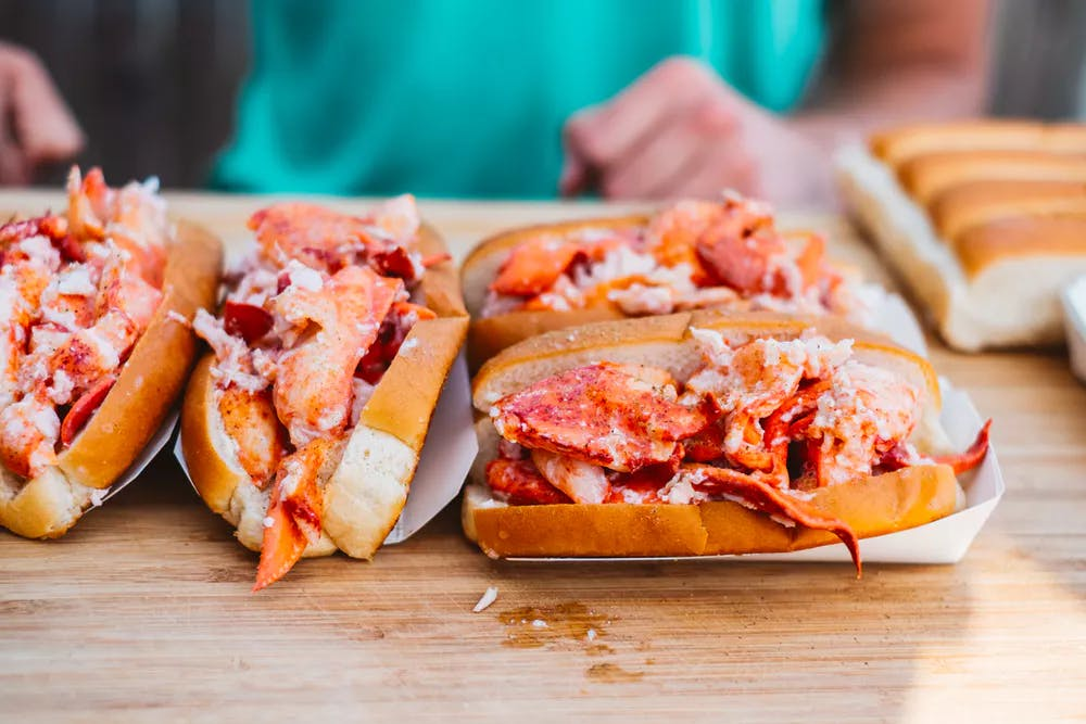 Lobster rolls on table