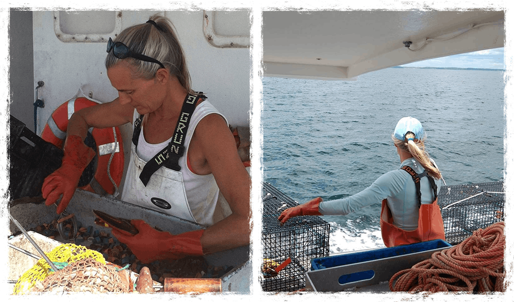 Merritt banding lobsters on a boat (left) and hauling traps (right)