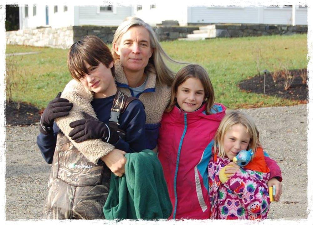 Merritt and her three children, Liam (Left), Madeleine (Center), and Grace (Right)