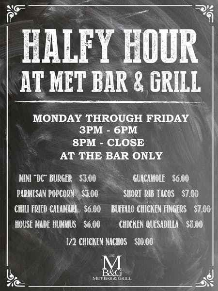Halfy Hour at the MET Bar & Grill