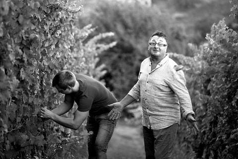 Black and white picture of Marijan and Miha Kehlar of Keltis Winery in Slovenia