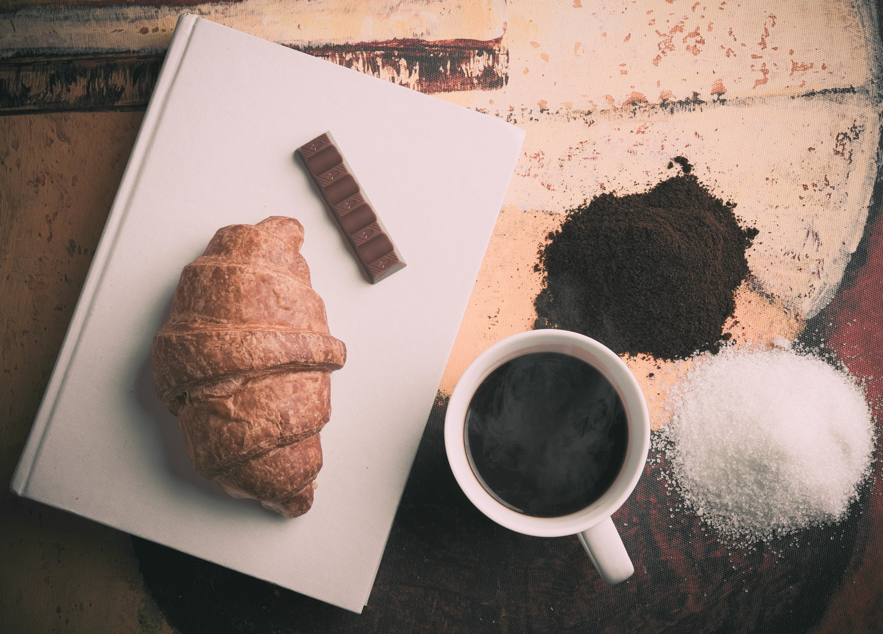 Cup of Coffee with Bread and Chocolate