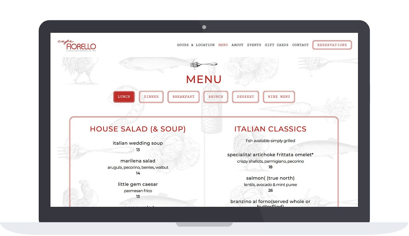 Cafe Fiorello Menu